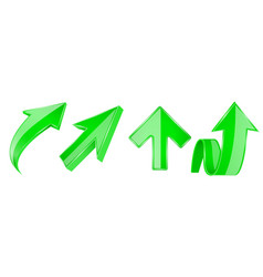 green arrows set 3d up icons vector image
