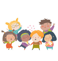 Group of children different nationalities and skin vector