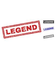 Grunge legend textured rectangle stamps vector