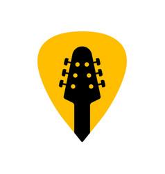 Guitar acoustick pick design icon flat logo vector