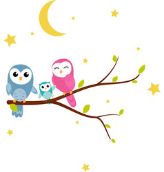 Happy owl background with tree branch vector