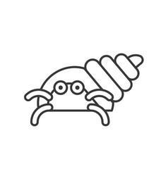Hermit crab icon set of ocean life line design vector
