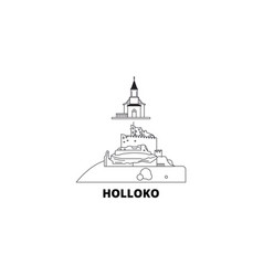 Hungary holloko old village line travel skyline vector