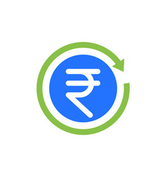 Indian rupee cashback icon vector