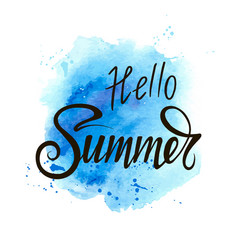 inscription hello summer on a blue background vector image