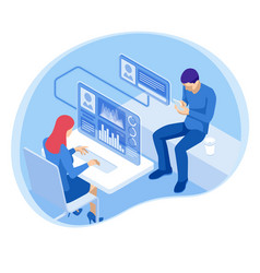 Isometric financial consultation or business vector