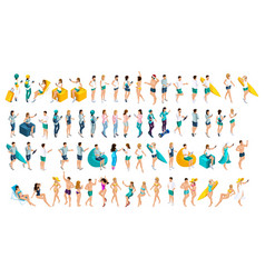 isometrics is a large set teenagers in summer vector image