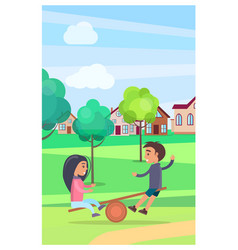 Kids on teetering board amusing in summer park vector