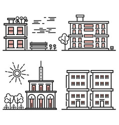 Line art houses collection - city objects with vector