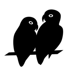 Lovebird parrots silhouette icon in flat style vector
