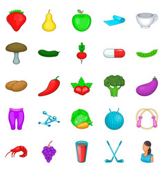 Low calorie icons set cartoon style vector