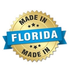 Made in Florida gold badge with blue ribbon vector
