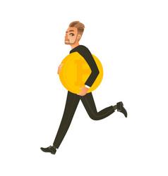 Man businessman running hurrying with bitcoin vector