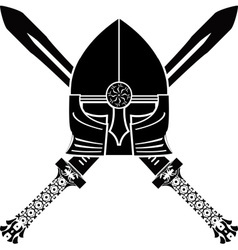 Medieval helmet and swords vector