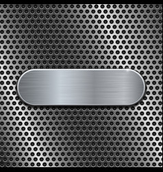 Metal oval plate on perforated background vector