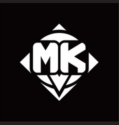 mk logo monogram with circle shape and square vector image
