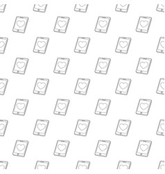 mobile phone with heart pattern seamless vector image