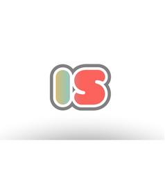 orange pastel blue alphabet letter is i s logo vector image