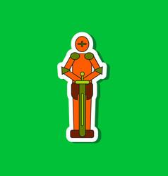 Paper sticker on stylish background kids toy child vector
