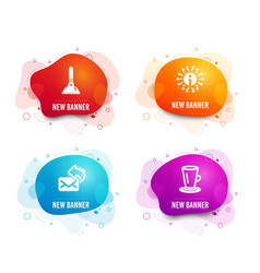 Plunger info and share mail icons teacup sign vector