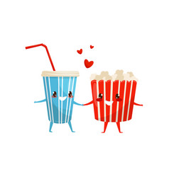popcorn bucket and cup of soda drink are friends vector image