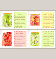 Preserved foodstuff with natural products poster vector