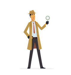 Private detective - cartoon people characters vector