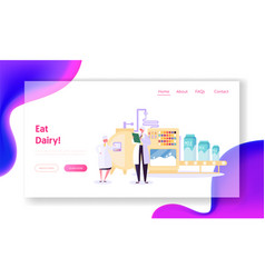 Processing milk factory landing page production vector
