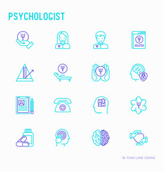 Psychologist thin line icons set vector