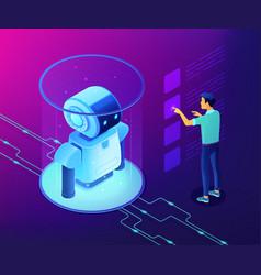 robotics data analysis concept isometric vector image