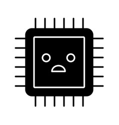 sad processor glyph icon vector image