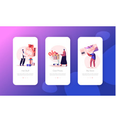 Sale mobile app page onboard screen set customers vector