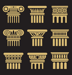 set ancient architecture column icons vector image