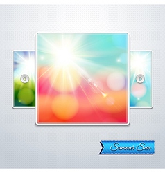 Set of bright shining sun with lens flare Web vector image
