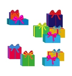 Set of different colorful wrapped gift boxes flat vector