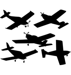 set of silhouettes of plane vector image