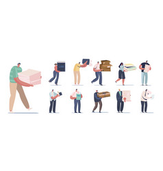 set people with different papers male vector image