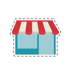 Shopping online store building cut line vector