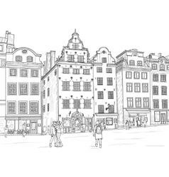 Sketch Stortorget in Stockholm vector image
