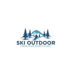 Ski logo design with silhouette outdoor simple vector