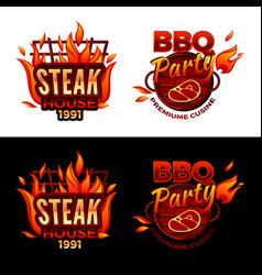 Steak house barbecue meat vector