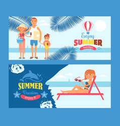 summer vacation banner travel to seaside resort vector image