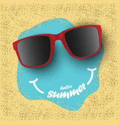 sunglasses with hello summer text on sea sand vector image