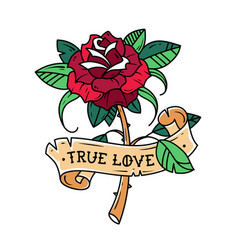 Tattoo red rose with ribbon true love vector