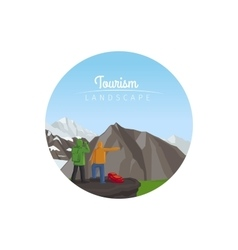 Tourism landscape circle icon with mountains vector