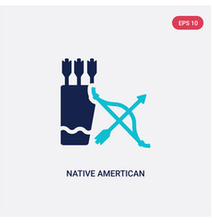 Two color native amertican arrows and quiver icon vector