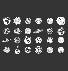 universe planet icon set grey vector image