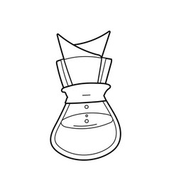 Utensil for brewing coffee isolated line vector