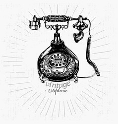 Vintage telephone drawing vector