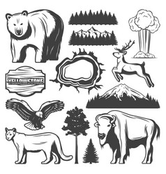 Vintage yellowstone national park icons set vector